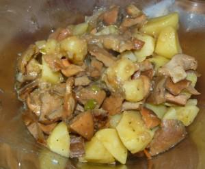 Ya sólo queda presentar en una fuente o plato esta magnífica receta de níscalos con verduras