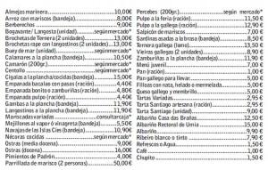 Precios de la Feria del Marisco de Las Rozas 2016